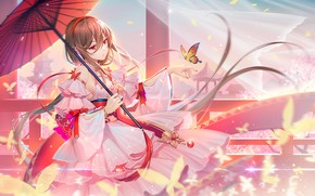 Picture girl, sunset, umbrella, butterfly, Vocaloid, TID