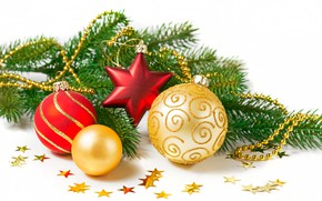 Picture white, background, holiday, toys, new year, branch