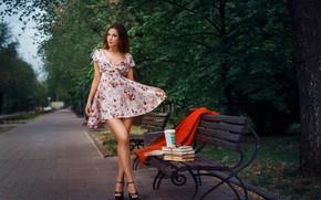 Picture girl, bench, pose, Park, books, dress, legs, Alexander Drobkov-Light, Alice Skvortsova