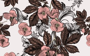 Picture flowers, retro, background, pink, pattern, brown, vintage