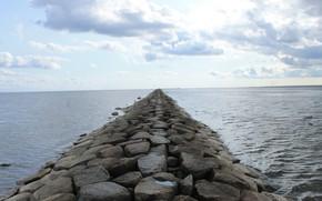 Picture sea, the sky, port, August, duck, mound, Estonia, the Baltic sea