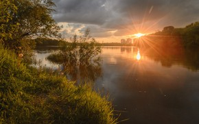 Picture summer, the sky, water, rays, trees, sunset, nature, river