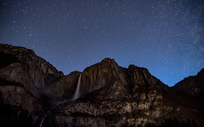 Picture the sky, stars, trees, mountains, night, nature, rocks, waterfall, USA, Yosemite