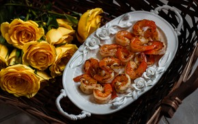 Picture flowers, food, roses, bouquet, yellow, tray, dish, shrimp