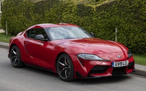 Picture greens, red, coupe, Toyota, Supra, the fifth generation, fence, mk5, double, 2019, UK version, GR …