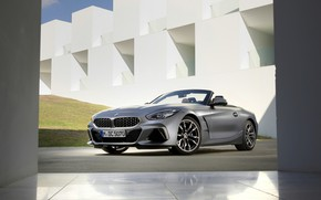 Picture grey, wall, lawn, the building, BMW, Roadster, BMW Z4, M40i, Z4, 2019, G29