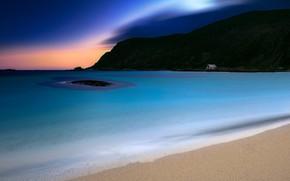 Picture sand, sea, beach, mountains, night, rocks, shore, Norway, twilight, The Lofoten Islands, sandy, Lofoten