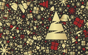 Picture snowflakes, background, holiday, texture, gifts, New year, tree