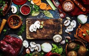 Picture greens, table, mushrooms, Board, bow, items, a lot, spices, mushrooms, potatoes, spoon, bowls, процесс приготовления