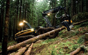 Picture forest, trees, lights, sawdust, wheel, logs, forestry equipment, Ponsse, harvester, felling