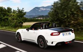 Picture asphalt, Roadster, side, spider, black and white, double, Abarth, 2016, 124 Spider