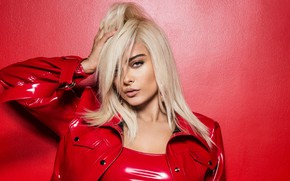 Picture look, girl, pose, jacket, beauty, red, Bebe Rexha