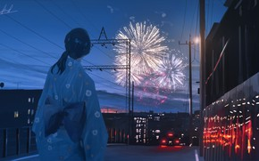 Picture girl, the city, fireworks