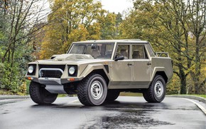 Picture road, car, machine, forest, asphalt, Lamborghini, pickup, wheel, Lamborghini LM002, gray car, LM002