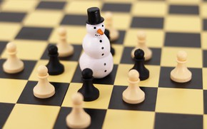 Picture winter, holiday, toy, chess, Christmas, cells, New year, snowman, chess Board, figure, bokeh, Christmas decorations, …