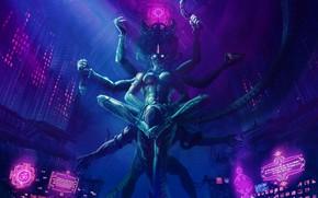 Picture God, Cyberpunk, Science Fiction, God, The city, Art, Cyberpunk, Neon, Style, Art, Deity, India, Style, …