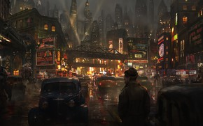 Picture Road, Night, The city, Robots, People, Machine, Art, Art, Concept Art, Street, Eddie Mendoza, by ...