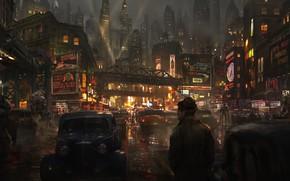 Picture Road, Night, The city, Robots, People, Machine, Art, Art, Concept Art, Street, Eddie Mendoza, by …