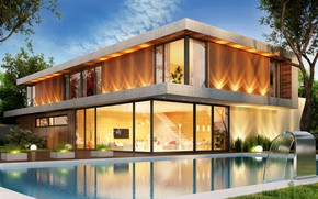 Picture design, house, pool, modern, houses, villa, luxury