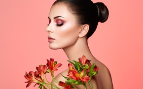 Picture girl, flowers, face, style, background, back, makeup, lips, Oleg Gekman
