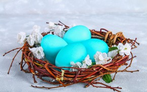 Picture flowers, eggs, Easter, basket, flowers, eggs, easter, decoration