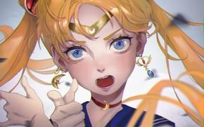 Picture girl, shouts, Sailor Moon, Usagi Tsukino