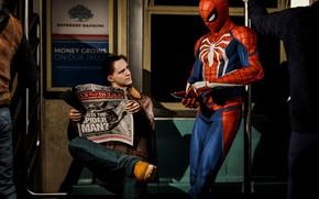 Picture metro, newspaper, guy, smartphone, Spider-Man, PS4, Spider - man, Spider-Man (PS4)
