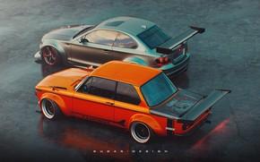Picture Auto, BMW, Machine, Grey, Orange, Car, Render, Turbo, 2002, Rendering, BMW Turbo, Transport & Vehicles, …