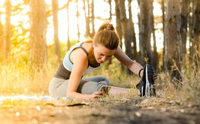 Picture woman, running, fitness, sneakers, woman, training, fitness, sneakers, resting, training, warm-up, running, jogging