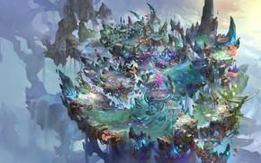 Picture the game, island, fantasy, art, location, environment, zhong wenhao, ditusheji