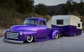 Picture Car, Purple, Old, Trailer, Gmc