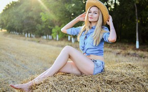 Wallpaper field, the sun, trees, nature, sexy, pose, model, shorts, hat, makeup, figure, hairstyle, blonde, hay, ...