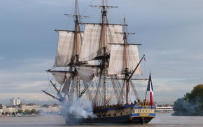 Picture French Navy, 32 gun sailing frigate class Concorde, The Frigate Hermione