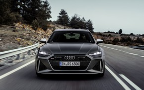 Picture road, Audi, before, universal, RS 6, 2020, 2019, dark gray, V8 Twin-Turbo, RS6 Avant