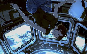 Picture girl, space, weightlessness, spaceship