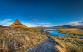 Picture Mountain, Landscapes, Iceland, Kirkjufel Valley