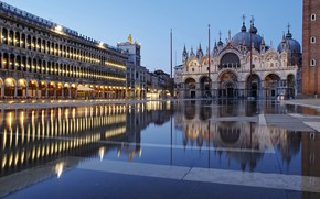 Picture reflection, building, area, Italy, Venice, Cathedral, architecture, Italy, Venice, The Cathedral Of St. Mark, Piazza …