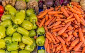 Picture harvest, vegetables, carrots, market, bell pepper, beets, celery root