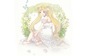 Picture butterfly, barefoot, blue eyes, white dress, two tails, Sailor Moon, венок из цветов, by xiaohan