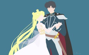 Picture girl, minimalism, pair, guy, Sailor Moon