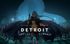 Picture girl, night, cloak, Detroit Become Human
