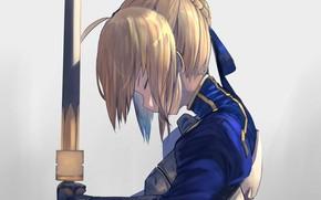 Picture girl, sword, knight, the saber, Artoria Pendragon, Fate / Stay Night
