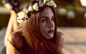 Picture eyes, look, pose, Girl, Hair, lies, flowers, wreath, Giulia, Marco Squassina