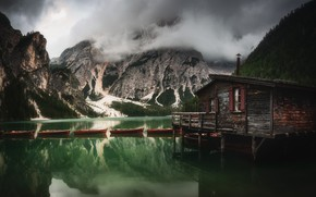 Picture clouds, landscape, mountains, nature, lake, boats, Italy, house, The Dolomites, Braies