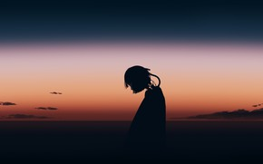 Picture sunset, girl, cyborg, postapokalipsis, by Gracile