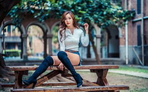 Picture look, girl, shorts, blouse, legs, Asian, boots