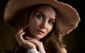 Picture look, girl, face, portrait, hat, hands, Maxim Fawn, Kate Halpert