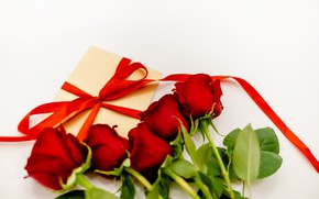 Picture gift, roses, tape, red, red, March 8, flowers, romantic, roses, gift box
