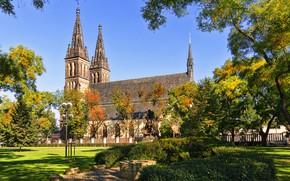 Wallpaper greens, the sky, grass, the sun, trees, Park, lawn, Prague, Czech Republic, Church, the bushes, ...