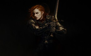 Picture Girl, Minimalism, Armor, Style, Girl, Sword, Warrior, Art, Art, Red, Style, Warrior, Redhead, Minimalism, Sword, …